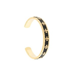 Tory Burch enamelled raised-logo cuff - ブラック