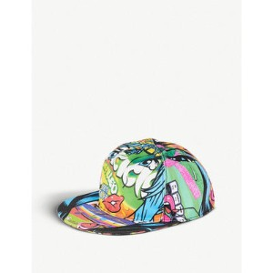 モスキーノ キャップ crazy fruits printed cotton snapback cap Multi