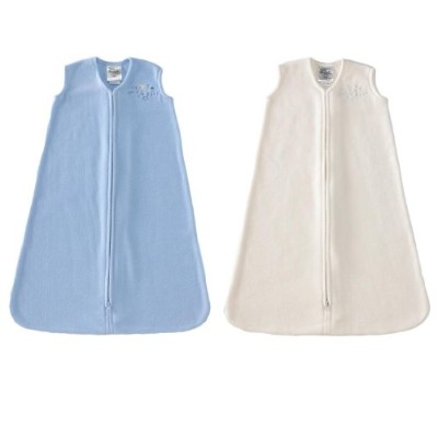HALO SleepSack Wearable Blankets Micro Fleece - Baby Blue & Cream, 2-Pack, Medium by Halo