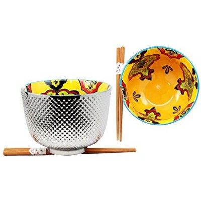 (Orange Pea Pods) - Atlantic Collectibles Set of 2 Luxury Silver Plated Ramen Noodle Bowls With...
