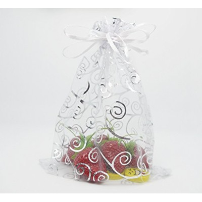 iBUY365 50Pcs Organza Drawstring Pouches Party Wedding White with Silver Gift Bags 5.9x7.7 By...