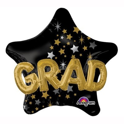 Graduation Black and Gold Star 36-inch Foil Multi Balloon by Anagram