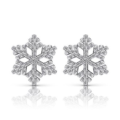 [女性向けイヤリング]B. Catcher Silver 925?Pound Snowflake Earrings with Cubic Zirconia Bulleted List[平行輸入品]