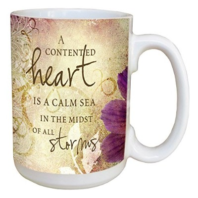 Tree-Free Greetings 45474 Inspiring Quote Contented Heart Ceramic Mug with Full-Sized Handle, 440ml