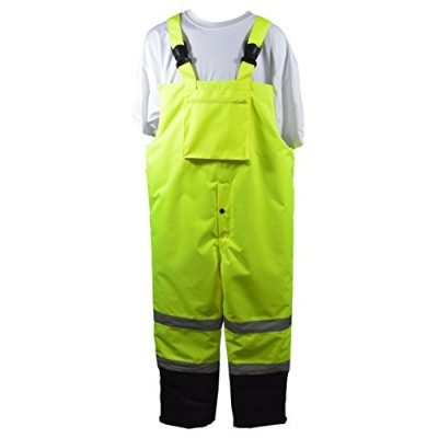 Petra Roc LQBBIP-CE-L ANSI-ISEA 107-2015 Class E Waterproof Quilted Thermal Bib Rain Pants44; Large
