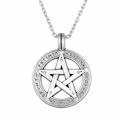 Lemegeton Pentagramペンダントネックレスwith古代エジプトRunes Pagan Pentacleリンクチェーンネックレスヴィンテージジュエリー