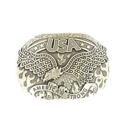 M&F Western Products 37122 Nocona Oval Eagle Fire Belt Buckle for Men - Silver