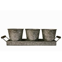 Galvanised Picnic Planter Set with Tray and 3 Buckets - Silverware and Utensil Caddy - Farmhouse...