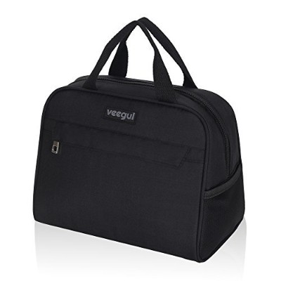(Black) - Veegul Recycle Cooler Insulated Lunch bag for Work School Outdoor Black