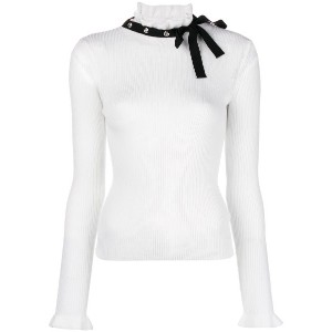 Red Valentino bow ribbed jumper - ホワイト