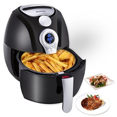 Electric Air Fryer, Blusmart電源Air FryingテクノロジーwithコントロールLEDディスプレイ温度と時刻3.4qt/3.2l 1400 Wフライバスケット...