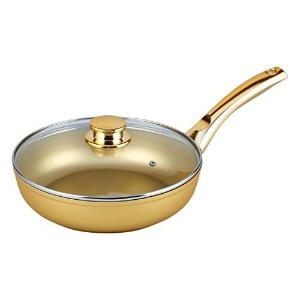 Bisetti Nonstick StoneGoldアルミFry Pan Includingガラス蓋withゴールドメタルハンドル、20-cm/7.87-in
