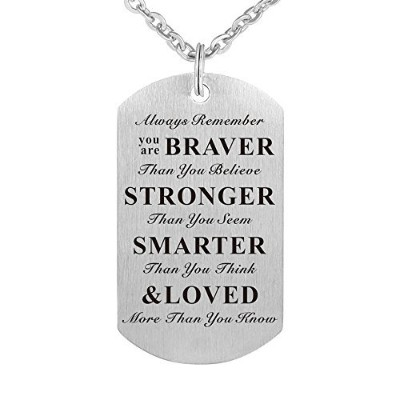 Always Remember You Are Braver Than You Believe Inspirationalギフトジュエリーペンダントネックレス