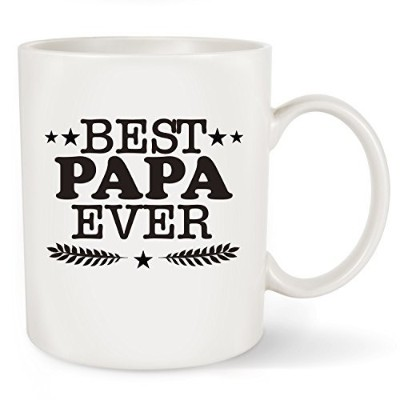 (330ml, Best Papa Ever) - Fathers Day Gifts Best Papa Ever Coffee Mug - Funny Grandpa Gifts -...