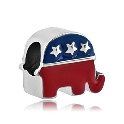 queencharms動物チャームUSAパーティーStrong and Dignified Republican Elephantビーズのブレスレット