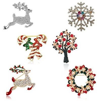 Christmas Brooch Pin Set Women - Pack of 6pcs Cute Crystal Diamond Enamel Christmas Jewelry Gift...