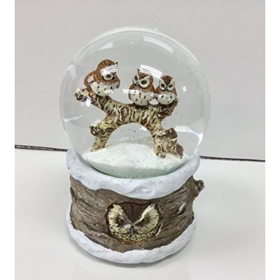 Roman, 100mm Musical Snow Globe, Owls in the Winter Snow