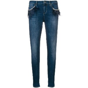 Liu Jo feather embellished jeans - ブルー