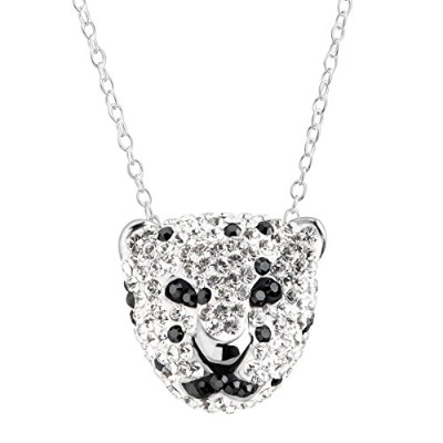 Crystaluxe Spottedパンサーペンダントネックレスwith Swarovski Crystals inスターリングシルバー