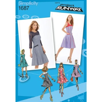 Simplicity Project Runway Pattern 1687 Misses Miss Petite Dress with Bodice and Sleeve Variations...