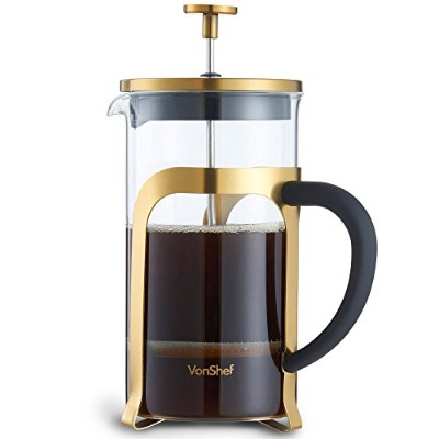 VonShef Premium 8 Cup Glass/Gold Stainless Steel Heat Resistant French Press Cafetiere Coffee Maker...