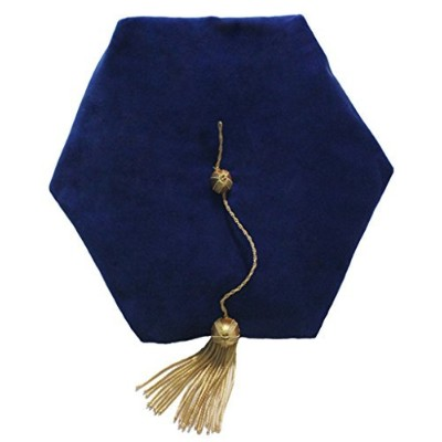 (Blue 6 sides) - GraduationMall Graduation Doctoral Tam 6-Sided Blue Velvet With Gold Bullion Tassel