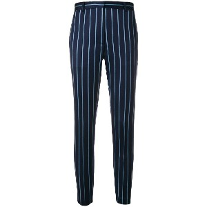 Rokh striped cropped trousers - ブルー