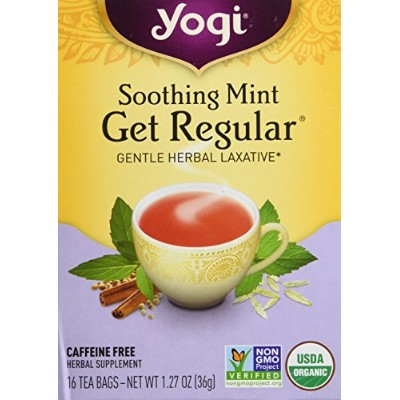 Yogi Tea, Get Regular, Soothing Mint, Caffeine Free, 16 Tea Bags, 1.12 oz (32 g)