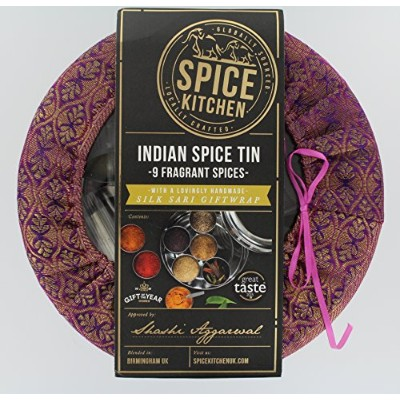 Indian Spices Gift Tin with handmade sari wrap, a wonderful gift handmade in the UK