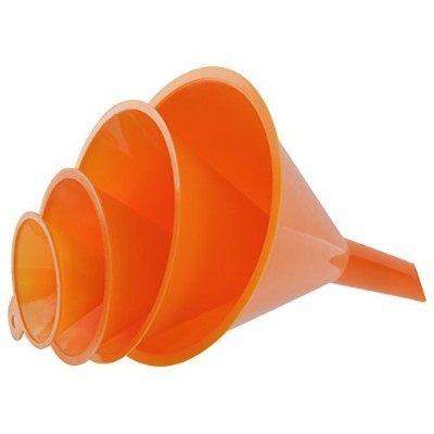 RamPro 4-Piece All Purpose Wide-Mouth Bright Orange Plastic Funnel Set for Quick and Clean...