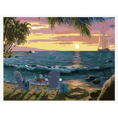 (Sunset view) - Paint By Number Kits ifymei Paintworks DIY Oil Painting for Kids and Adults (Sunset...
