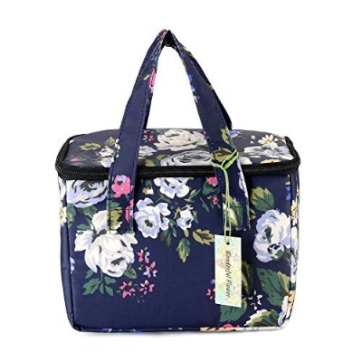 (003Navy) - WONDERFUL FLOWER Lunch Box Cooler Bag lunch bag flower (003Navy)