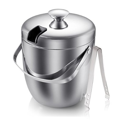 Ice Bucket with Lids, Fortune Candy Stainless Steel Double Wall Insulated Ice Buckets with Tongs, 3...
