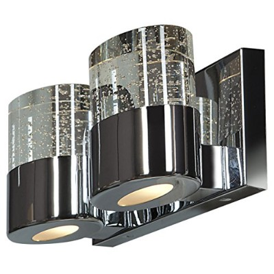 Bubblesソリッドクリスタル2-light LED Vanity with Oplガラスダウンライトin Chrome ( CH ) with Clear ( CLR )ガラス