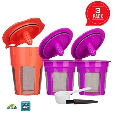 3 Pack Refillable K Carafe 2.0 and Reusable K Cup Filters Coffee Capsule Pods for Keurig 2.0, K200,...