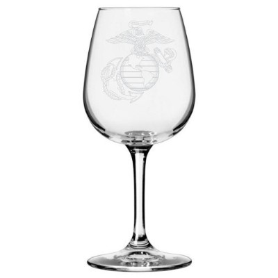 (Marines, Marines Logo) - United States Marines Etched All Purpose 380ml Libbey Wine Glass
