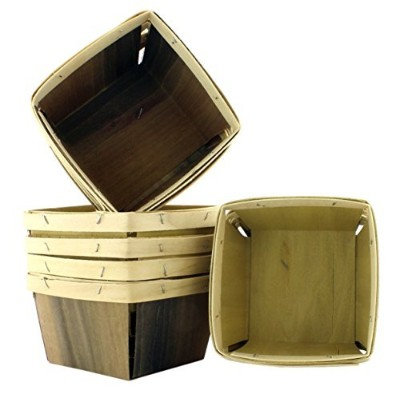 "(QUART) - One Quart Wooden Berry Baskets (8-Pack); 5.5"" Square Vented Wood Boxes for Fruit Picking..."