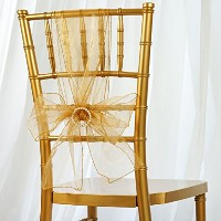 (Gold) - Lann's Linens - 10 Elegant Organza Wedding/Party Chair Cover Sashes/Bows - Ribbon Tie Back...