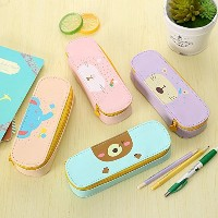 Katoot@ Korean cute animals PU leather school pencil case for girls Big capacity Storage pen pouch...