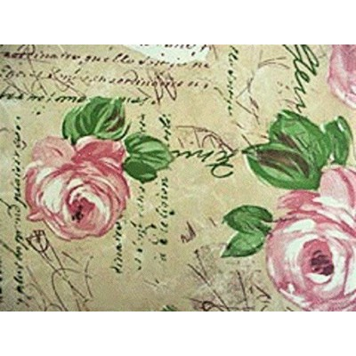 Fitted Round Elastic Edge Vinyl Tablecloth Table Cover fits 90cm - 120cm Pink Roses Provence