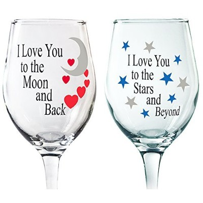 Loveワインメガネ – ワイングラスセット – Set of 2 Wine Glasses with Sayings – I Love You To The Moon And Back – I...