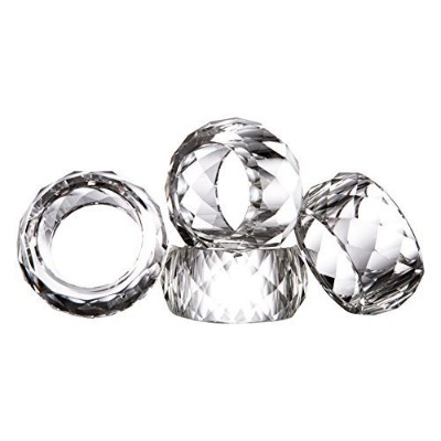 (4pcs-clear) - Donoucls Crystal Napkin Ring Holders Set of 4-5.1cm, Table Party Wedding Set