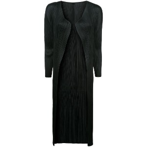 Pleats Please By Issey Miyake mid-length pleated jacket - ブラック
