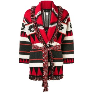 Alanui belted embroidered cardigan - レッド