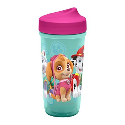 Zak Designs Toddlerific Perfect Flo Toddler Cup with Paw Patrol with Pink Lid, Double Wall Insulated Construction and Adjustable Flow Technology, Break-resistant and BPA-free Plastic, 8.7oz by Zak Designs