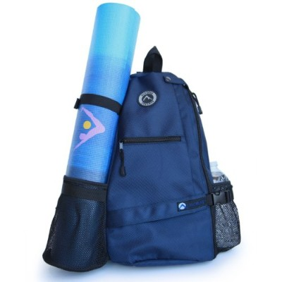 (Blue) - Aurorae Yoga Mat Bag. Multi Purpose Cross-body Sling Back Pack. Mat sold separately.