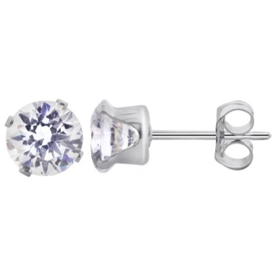 TDEZ2040-C Nickel Free Sterling Silver 5mm Round Cubic Zirconia Post Friction Back Stud Earrings