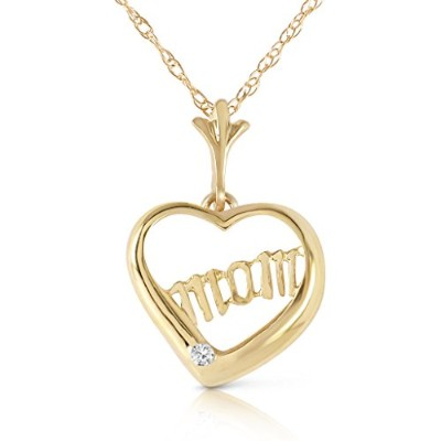 K14 Yellow Gold 'Mom' Pendant Necklace with Diamond