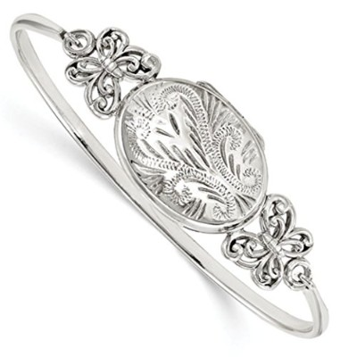 Genuine Sterling Silver Polished Butterfly 26mmロケットバングルブレスレット