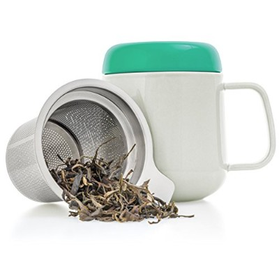 (W+g) - Tealyra - Sumo Ceramic Tea Cup Infuser - 400ml - Small Mug with Lid and Stainless Steel...
